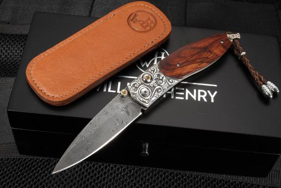 William Henry B05 Pipe Creek - Damascus, Silver and Cocobolo Wood