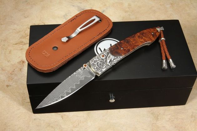 William Henry B10 Free Flight Damascus Folding Knife