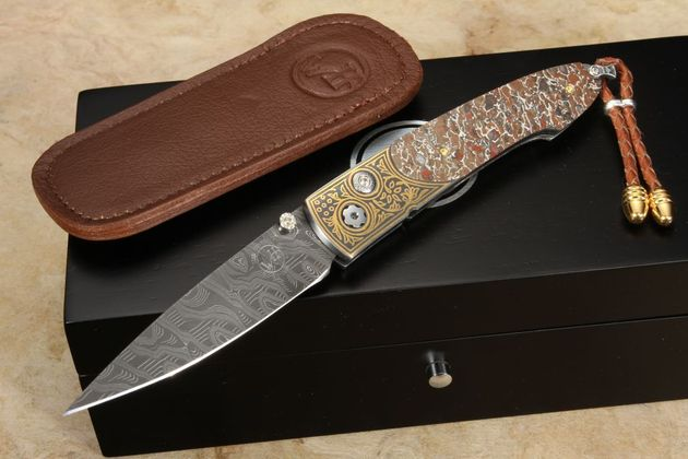 William Henry B10 Totem - Dinosaur, Damascus and Gold Folding Knife