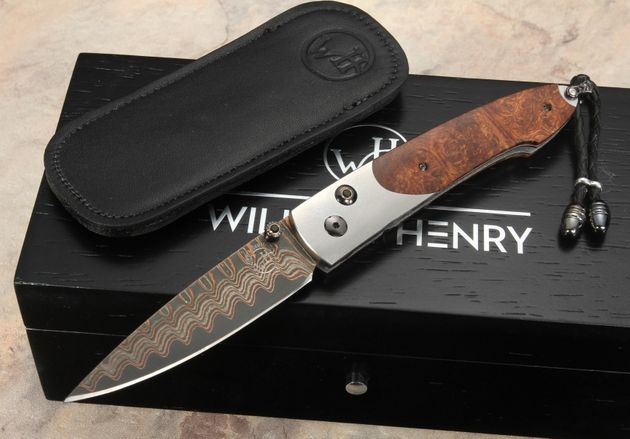 William Henry B10 Westchester - Ironwood & Damascus Folding Knife