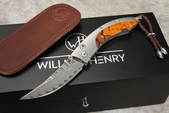 William Henry B11 Drift Spalted Beechwood and Damascus
