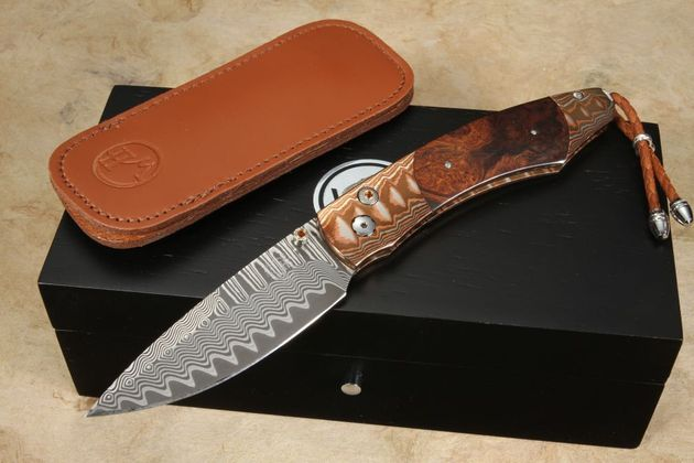William Henry B12 High Desert Copper Wave Damascus Folding Knife