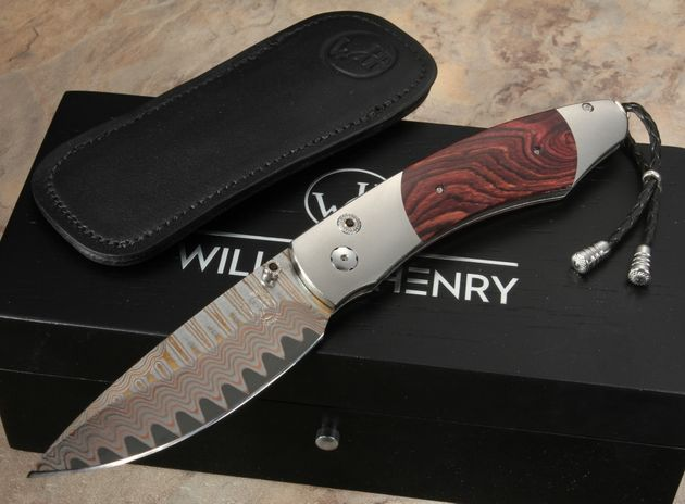 William Henry B12 Kingwood - Copper Wave Damascus Folding Knife