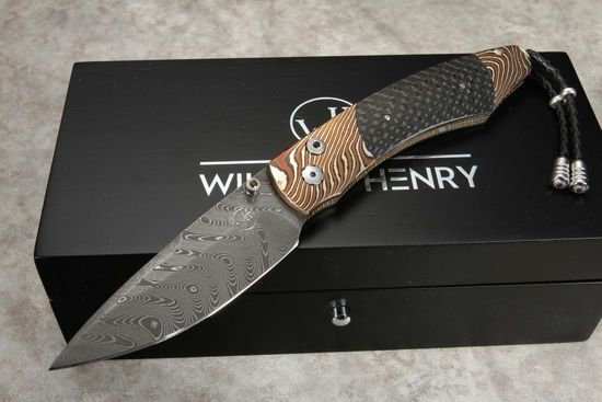 William Henry B12 Shale - Mokume & Damascus Folding Knife