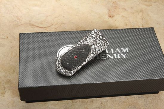 William Henry M3 Grotto - Silver, Carbon Fiber and Ruby Money Clip