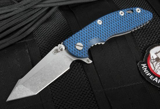 "Hinderer Knives XM-18 3.5"" FATTY Edition Harpoon - Black and Blue"