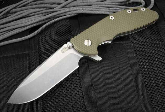 Rick Hinderer XM-24 - S35-VN Spearpoint Blade - OD Green