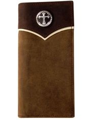 3D Cross Concho Rodeo Wallet - Brown Distressed