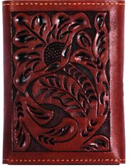3D Floral Tooled Trifold Wallet - Brown (Closeout)