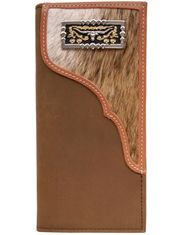 3D Hair On Concho Rodeo Wallet - Distressed Brown