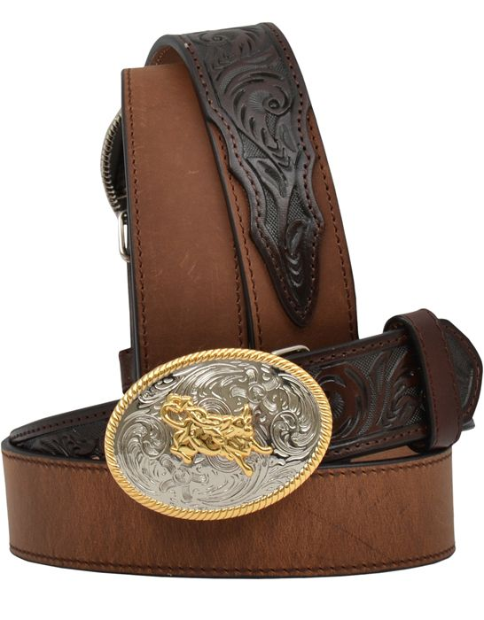 3D Western Mens Belt Leather Stitching Brown 1199