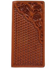 3D Tooled Basketweave Rodeo Wallet - Natural (Closeout)