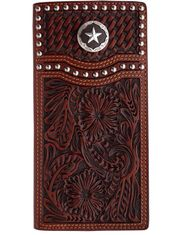3D Tooled Concho Rodeo Wallet - Brown