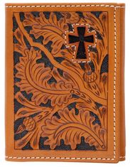 3D Tooled Hair On Cross Trifold Wallet - Natural