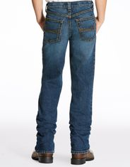 Ariat Boy's B4 Stretch Low Rise Relaxed Fit Boot Cut Jeans - Dark Stonewash