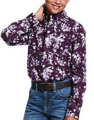 Ariat Boy's Casual Series Classic Fit Long Sleeve Print Button Down Shirt - Irises