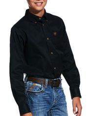 Ariat Boy's Casual Series Classic Fit Long Sleeve Solid Button Down Shirt - Black