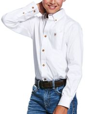 Ariat Boy's Casual Series Classic Fit Long Sleeve Solid Button Down Shirt - White