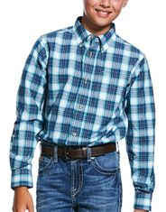 Ariat Boy's Pro Series Classic Fit Long Sleeve Plaid Button Down Shirt - Multi