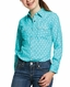 Ariat Girl's R.E.A.L. Western Sky Long Sleeve Print Snap Shirt - Turquoise Falls