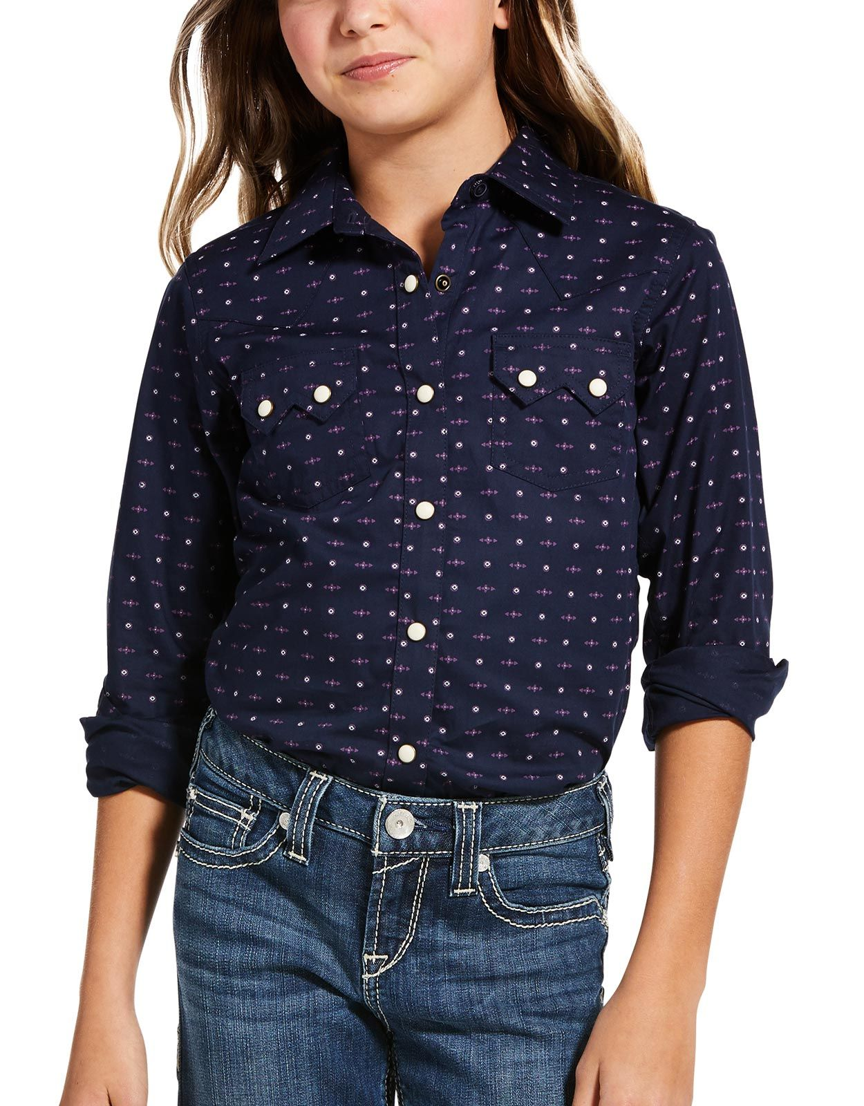 Ariat Girl's REAL Stretch Long Sleeve Print Snap Shirt - Navy Eclipse