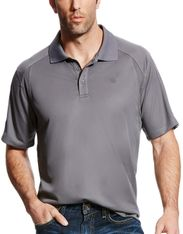 Ariat Men's AriatTEK AC Polo Short Sleeve Solid Button Shirt - Shadow