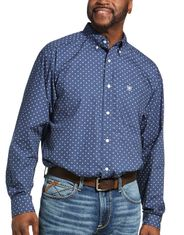 Ariat Men's Casual Series Classic Fit Long Sleeve Print Button Down Shirt - Marine Blue