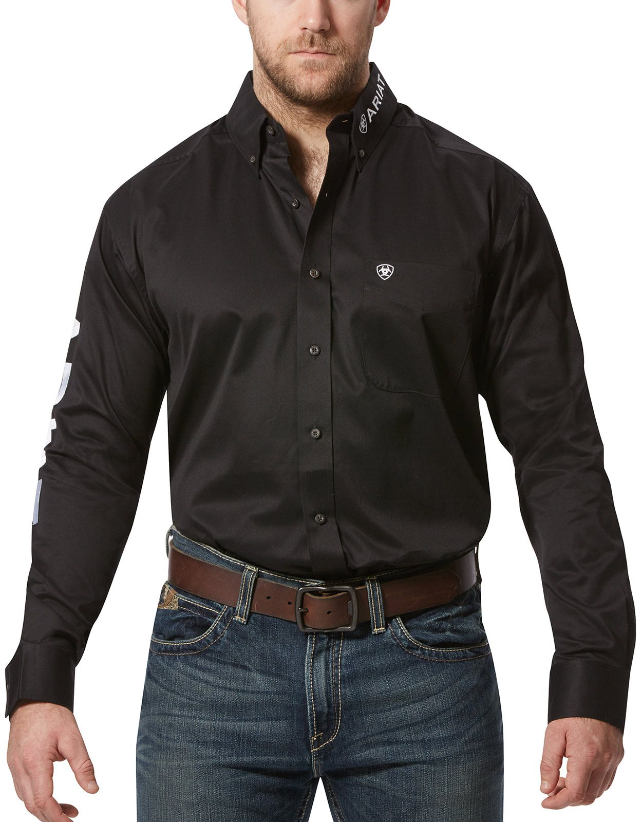 Ariat Men's Casual Series Classic Fit Team Logo Twill Long Sleeve Solid Button Down Shirt - Black/White