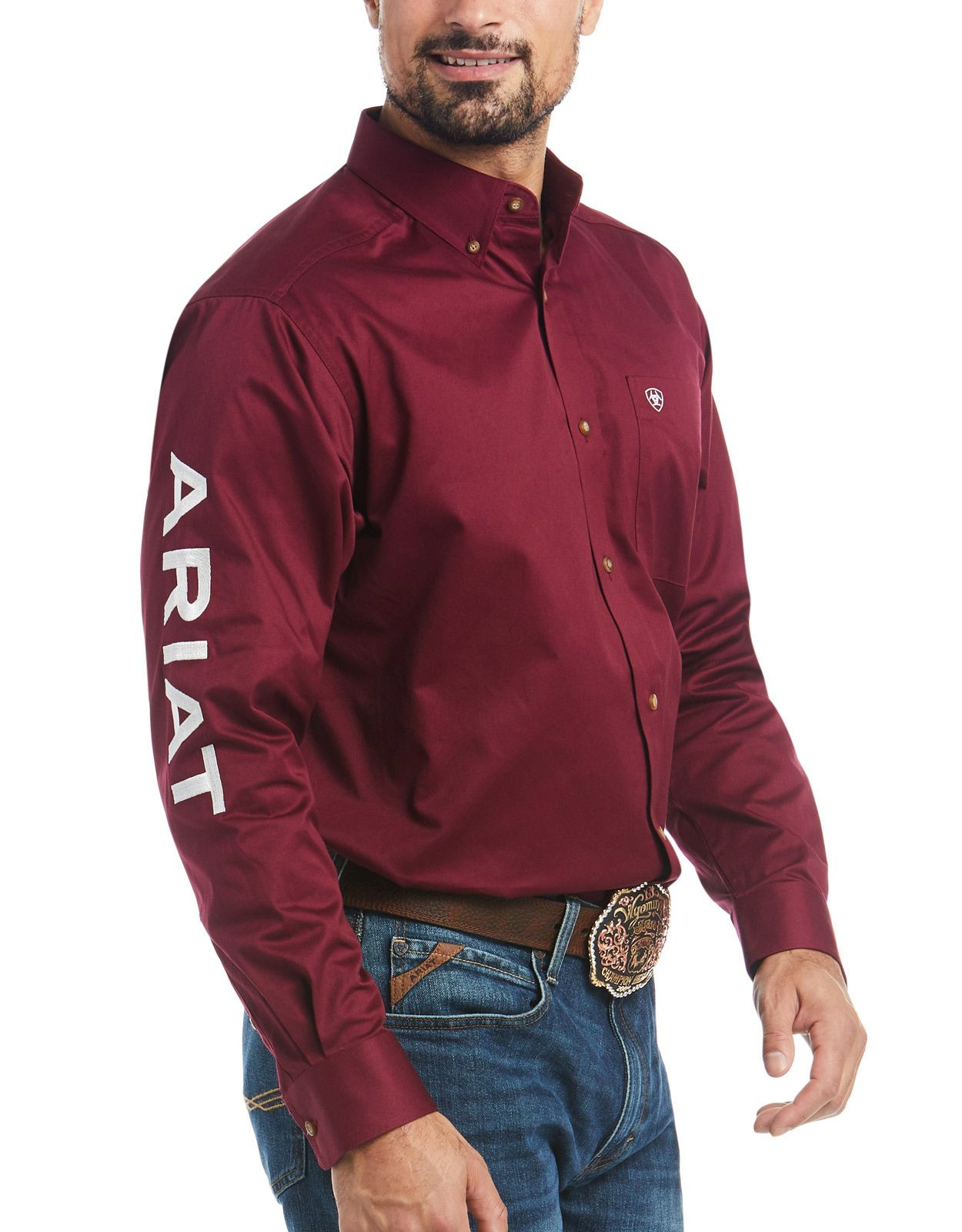 Ariat Men's Casual Series Classic Fit Team Logo Twill Long Sleeve Solid Button Down Shirt - Burgundy/White