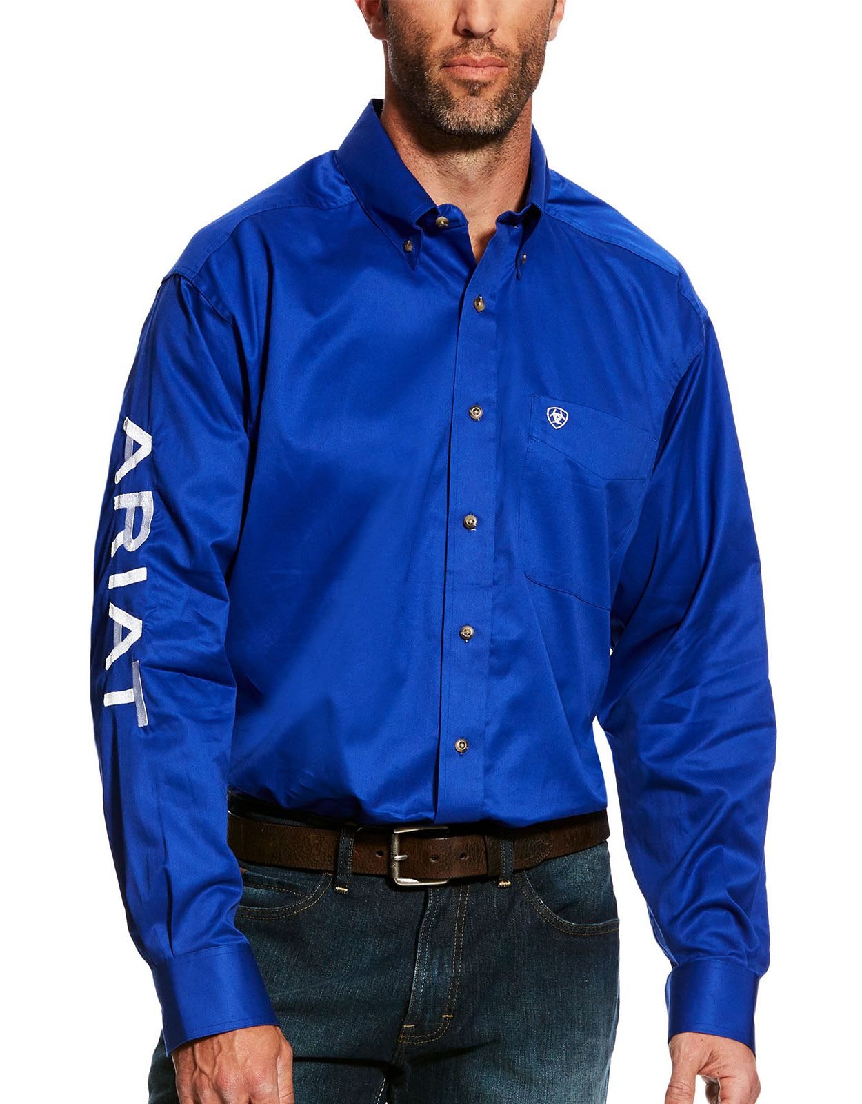 Ariat Men's Casual Series Classic Fit Team Logo Twill Long Sleeve Solid Button Down Shirt - Ultramarine/White
