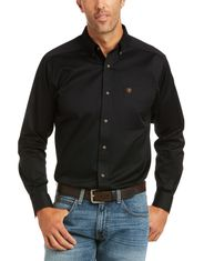 Ariat Men's Casual Series Fitted Long Sleeve Solid Button Down Shirt - Black
