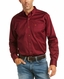 Ariat Men's Casual Series Fitted Long Sleeve Solid Button Down Shirt - Burgundy