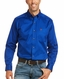 Ariat Men's Casual Series Fitted Long Sleeve Solid Button Down Shirt - Ultramarine