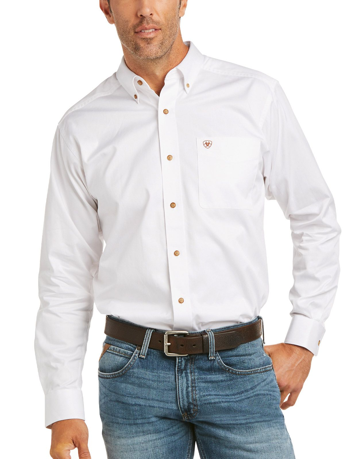 Ariat Men's Casual Series Fitted Long Sleeve Solid Button Down Shirt - White