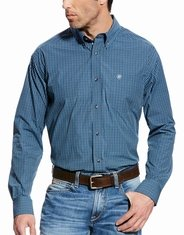 Ariat Men's Classic Fit Long Sleeve Check Button Down Shirt - Blue