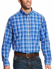 Ariat Men's Classic Fit Long Sleeve Plaid Button Down Shirt - Blue