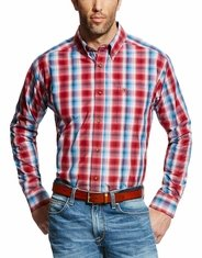 Ariat Men's Classic Fit Long Sleeve Plaid Button Down Shirt - Red