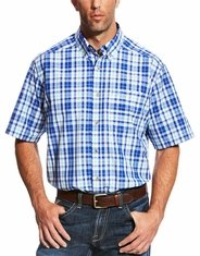 Ariat Men's Classic Fit Short Sleeve Plaid Button Down Shirt - Blue