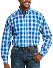 Ariat Men's Pro Series Classic Fit Long Sleeve Plaid Button Down Shirt - Blue