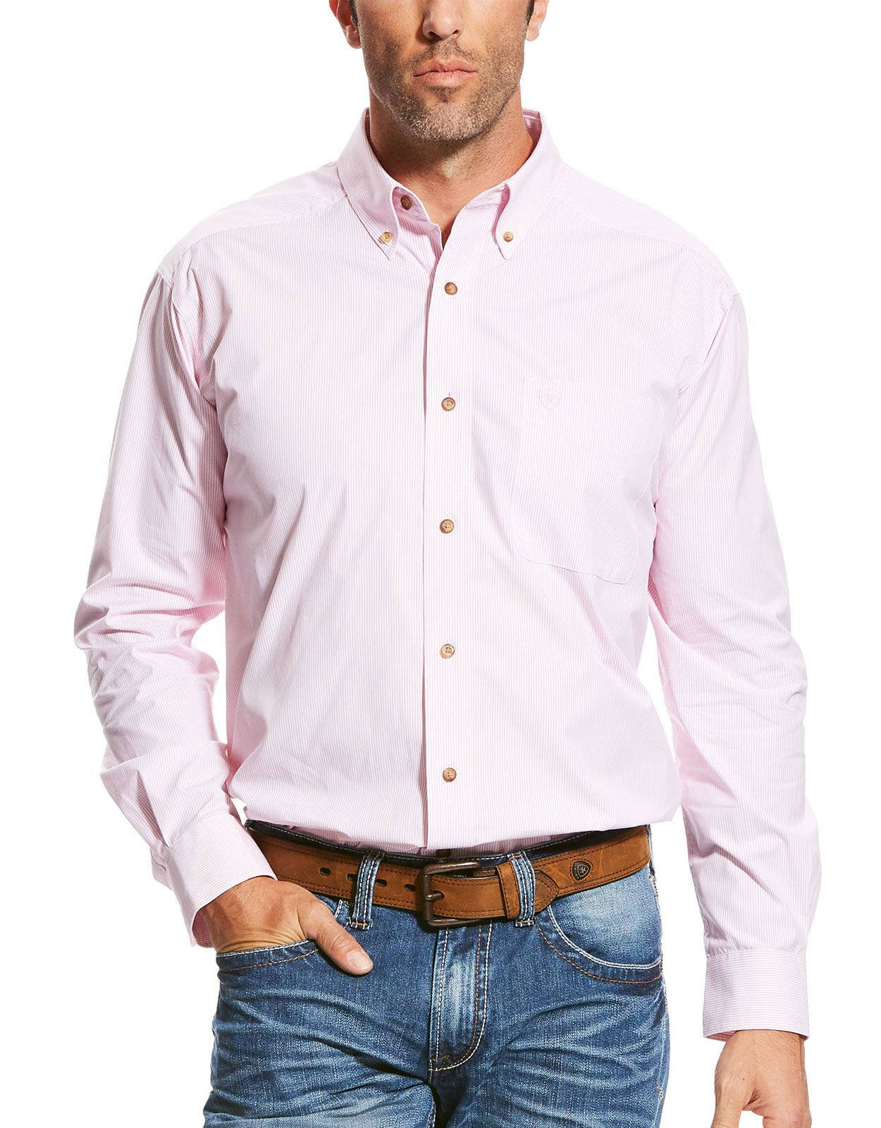 Ariat Men's Pro Series Classic Fit Long Sleeve Stripe Button Down Shirt - Prism Pink