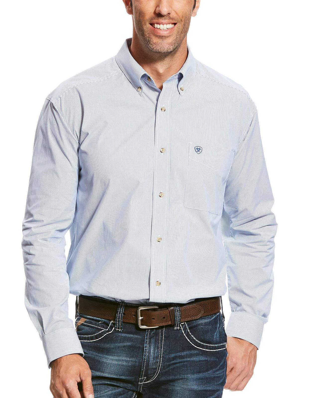 Ariat Men's Pro Series Classic Fit Long Sleeve Stripe Button Down Shirt - True Blue