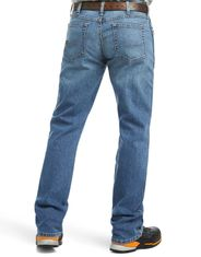 Ariat Men's Rebar M4 DuraStretch Low Rise Relaxed Fit Basic Boot Cut Jeans - Blue Haze