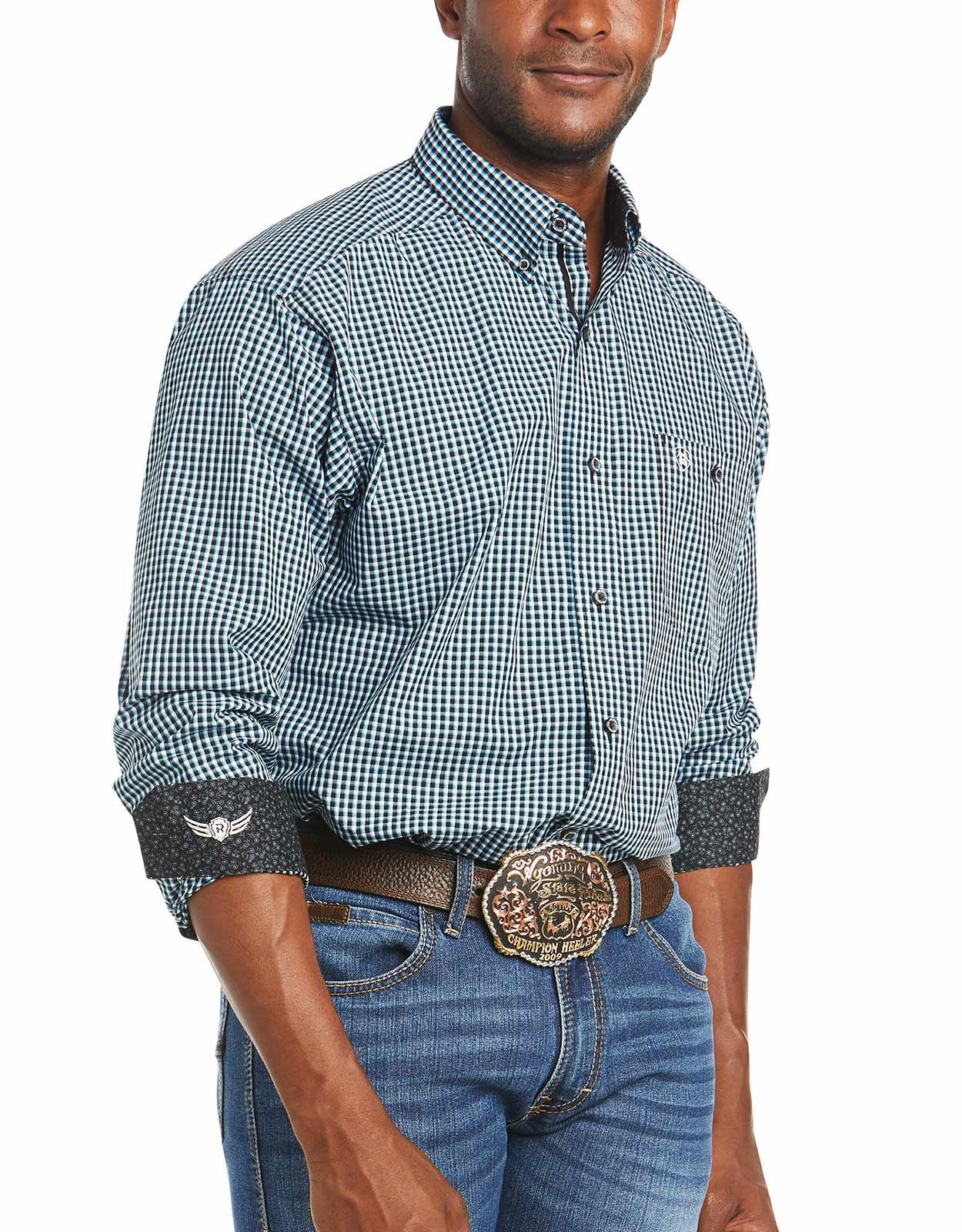 Ariat Men's Relentless Classic Fit Stretch Long Sleeve Check Button Down Shirt- Black