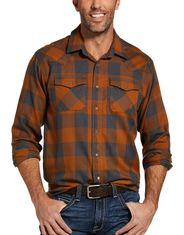 Ariat Men's Retro Casual Fit Long Sleeve Plaid Snap Shirt - Cedarwood