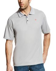 Ariat Men's Tek Polo Short Sleeve Solid Button Shirt - Silver Lining
