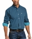 Ariat Men's Wrinkle Free Classic Fit Long Sleeve Plaid Button Down Shirt - Petrol Blue