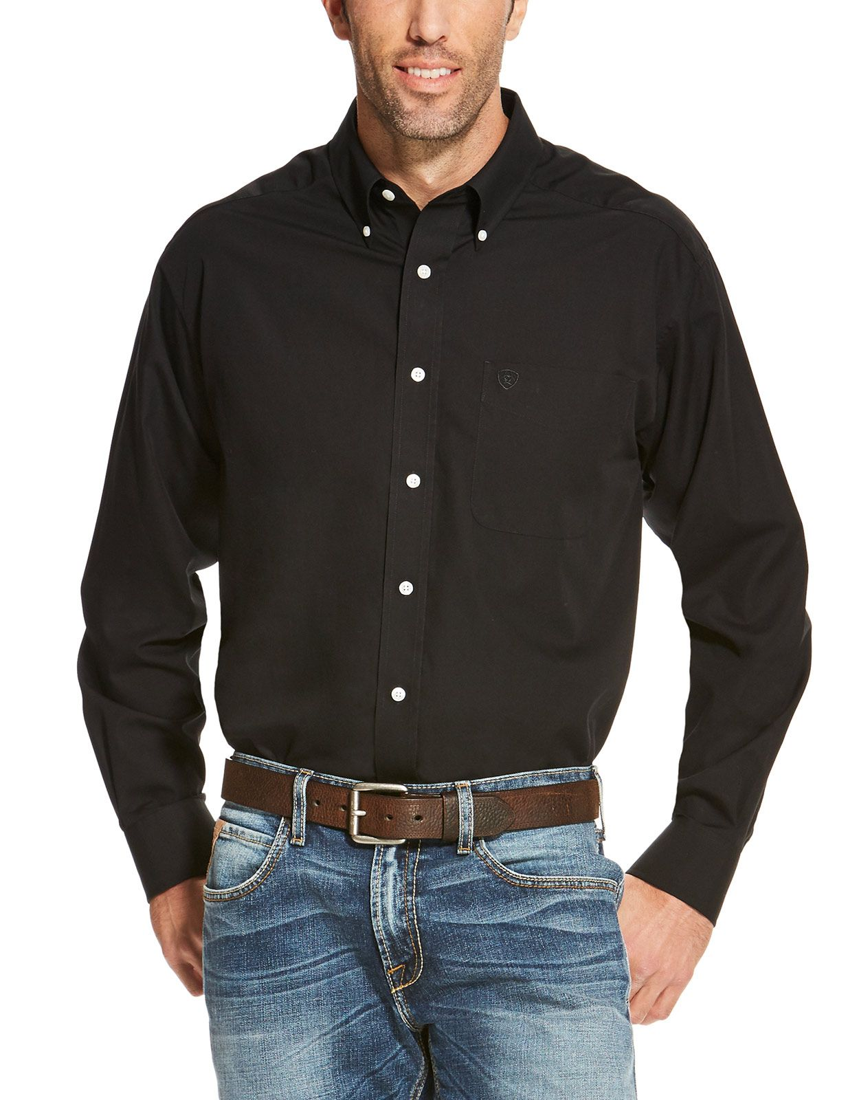 Ariat Men's Wrinkle Free Classic Fit Long Sleeve Solid Button Down Shirt - Black