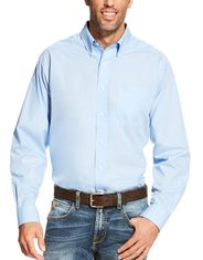 Ariat Men's Wrinkle Free Classic Fit Long Sleeve Solid Button Down Shirt - Light Blue