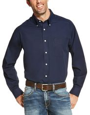 Ariat Men's Wrinkle Free Classic Fit Long Sleeve Solid Button Down Shirt - Navy Blue