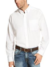 Ariat Men's Wrinkle Free Classic Fit Long Sleeve Solid Button Down Shirt - White